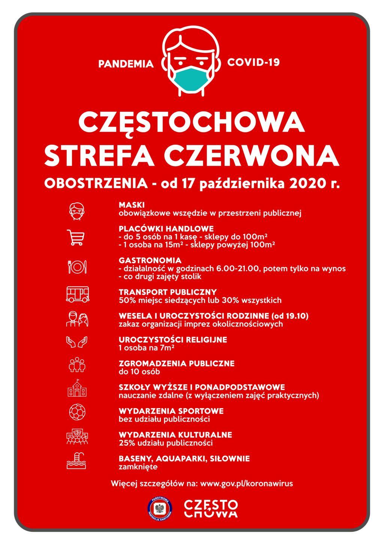 baner informujący o reżimie sanitarnym w związku z włączeniem Częstochowy do czerwonej strefy