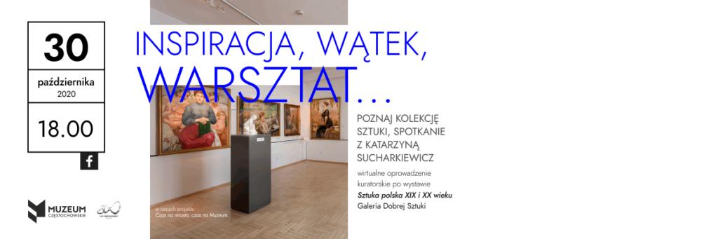 baner reklamujący wirtualne oprowadzanie kuratorskie spotkanie z Katarzyną Sucharkiewicz 30 października 2020