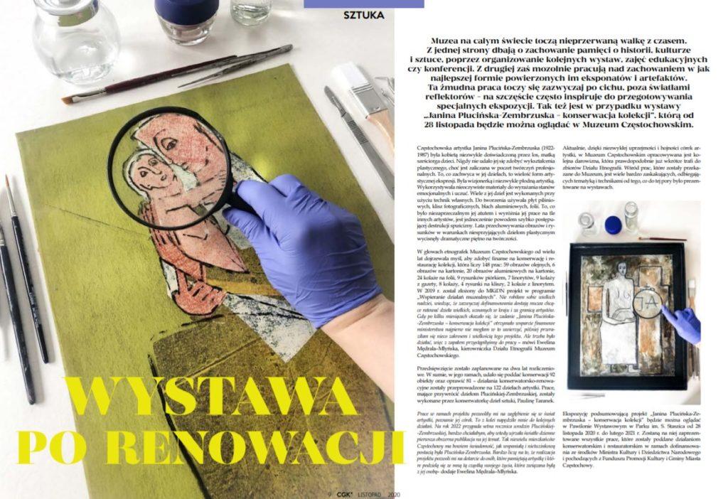 Zapowiedź wystawy wieńczącej projekt Janina Plucińska-Zembrzuska – konserwacja kolekcji